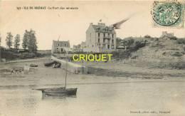 Cpa 22 Ile De Bréhat, Le Port Clos à Mi-marée, Bateaux échoués, Charrette Sur La Plage..., Affranchie 1907 - Ile De Bréhat