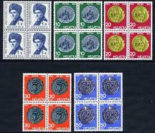 SWITZERLAND 1962 Pro Patria Set In Blocks Of 4 MNH / **.  Michel 751-55 - Pro Patria