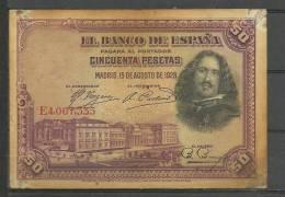 ESPAÑA- BILLETE DE 50 Pts. Con Roces Y Manchas Del Tiempo. - [ 1] …-1931 : Primeros Billetes (Banco De España)