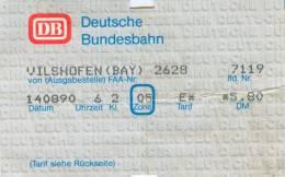 Fahrkarte Ticket Vilshofen 14.8.1990 Deutsche Bundesbahn DB Bahn Eisenbahn Zug Fahrschein Billet Biglietto Bayern - Europa