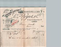 Entête  09/11/1895  -  LYON  Vers  VOIRON  -  L.  VEYRET  Bijouterie -  Lunetterie  Horlogerie  - Dépositaire De JAPY - France