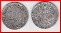 **** ALLEMAGNE - GERMANY - 20 PFENNIG 1876 F - ARGENT - SILVER **** EN ACHAT IMMEDIAT - [ 2] 1871-1918 : German Empire