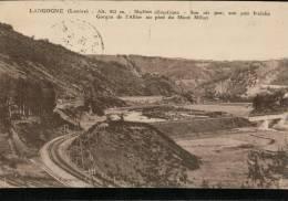 Carte Sépia De 1934   LANGOGNE (Lozère) .Alt.913 M. Station Climatique. Son Air Pur,son Eau Fraiche Gorges De L'Allier - Langogne