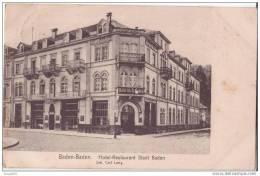 ALLEMAGNE BADEN BADEN HOTEL RESTAURANT STADT BADEN CARTE 1905.CPA TRES BON ETAT - Baden-Baden