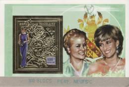 """Togo 1997 Y&T BF 316C. Princesse Diana. Bloc Dentelé Perforé """"annulé"""" Collé Sur Carton Par L´imprimeur Suisse... - Koniklijke Families"""
