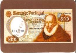 CALENDARIO DEL AÑO 1991 DE UN BILLETE DE BANCO DE PORTUGAL 500 ESCUDOS (CALENDRIER-CALENDAR) - Tamaño Pequeño : 1991-00