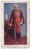 ROYAL FAMILIES EMPEROR FRANZ JOSEF JAMMED CORNER OLD POSTCARD 1907. - Royal Families