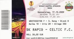 SK Rapid - Celtic FC/Football/UEFA Europa League Match Ticket - Tickets D'entrée