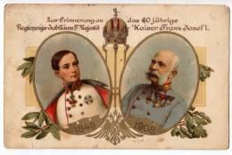 ROYAL FAMILIES EMPEROR FRANZ JOSEF 1848.-1908. JAMMED CORNER OLD POSTCARD - Royal Families