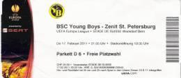 BSC Young Boys-Zenit Saint Petersburg/Football/UEFA Europa League Match Ticket - Tickets D'entrée