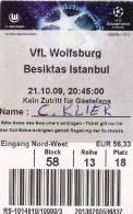 VfL Wolfsburg-Besiktas/Football/UEFA Champions League Match Ticket - Tickets D'entrée