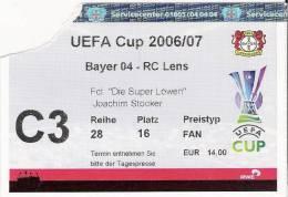 Bayer 04-RC Lens/Football/UEFA Cup Match Ticket - Tickets D'entrée