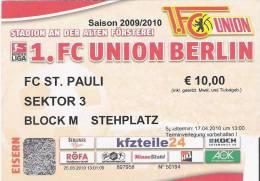 FC Union Berlin-FC Saint Pauli/Germany Football Match Ticket - Tickets D'entrée