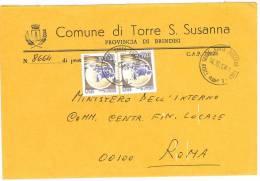 TORRE SANTA SUSANNA  72028 PROV. BRINDISI  - ANNO 1981  - LS  - STORIA POSTALE DEI COMUNI D´ITALIA - POSTAL HISTORY - Affrancature Meccaniche Rosse (EMA)