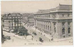 GENEVE La Poste Avec Tram Et Animation Env. 1908 - GE Geneva