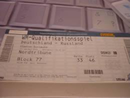 Germany-Russia International Football Match Ticket (11 October 2008) - Match Tickets