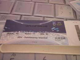 HSV Hamburger-Galatasaray/Football/UEFA Cup Match Ticket - Tickets D'entrée