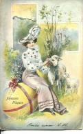 N°25215 -cpa Joyeuses Paques -illustrateurs- Moutons- - Pasqua