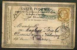LOIRET: Carte Précurseur Avec 15c CERES Dentelé Oblt CàDate Type 17 GARE D'ORLEANS  (43) > VALENCAY - Marcophilie (Lettres)