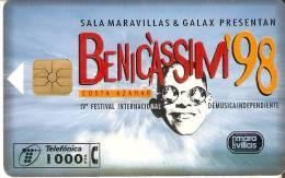 TARJETA DE BENICASSIM'98  POR SÓLO 1 EURO (la De La Foto)  Marca Doblez Central - Spagna