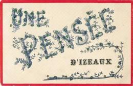UNE PENSEE D'IZEAUX BELLE CARTE A PAILLETTES 38 ISERE - France