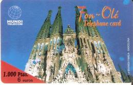 TARJETA DE FON-OLE DE LA SAGRADA FAMILIA DE 1000 PTAS- 6 EUROS (GAUDI) MUNDI TELECOM EN BLANCO - Spagna