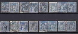 FRANCE  LOT SAGE    NUANCES DE BLEU  YT 90 ET 90A  TOUS TB - 1898-1900 Sage (Tipo III)