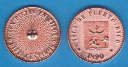 PUERTO RICO (Colonia Española/Spanish Colony) 10 Céntimos 1.890 Cobre SC/UNC KM#Pn1 Réplica SC/UNC  T-DL-10.148 Hol. E. - [ 1] …-1931 : Koninkrijk