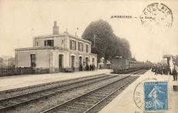AMBRIERES La Gare Avec Train Animee - Ambrieres Les Vallees