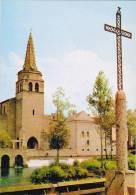 Cpm SAINT GIRONSVue De L'Eglise Et De La Croix , Depuis La Place Des Capots ( 9b09 ) - Saint Girons
