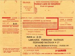 2 Imprimés Mandat Carte De Versement - Journal Des Instituteurs - Marcophilie (Lettres)