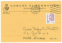 SOMMATINO  93019  PROV. CALTANISSETTA  - ANNO 2004  - LS - STORIA POSTALE DEI COMUNI D´ITALIA - POSTAL HISTORY - Affrancature Meccaniche Rosse (EMA)