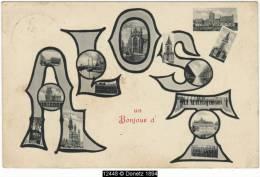 12448g Eglise - Bateaux - Place - Alost  - 1911 - Mosaïque - Aalst
