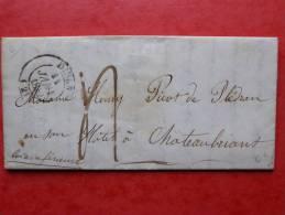 452/ LETTRE AVEC CORRESPONDANCE DE DINAN POUR CHATEAUBRIANT 1842 - Marcophilie (Lettres)