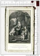 L185 - Image Pieuse Bords Dentelle -  La Vierge Au Rocher - Prière - Images Religieuses