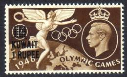 Kuwait - George V - 1 Rupee Overprint On 1s Olympic Games 1948 - Mint Unmounted - Kuwait