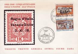 TRIESTE 1968 /   Cover _ Lettera  - Cinquantenario Dell´ Unione All´ Italia  - Commemorativi - 6. 1946-.. Repubblica
