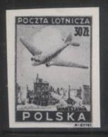 POLAND 1946 AIRMAIL PLANES AIRPLANES BLACK PRINT  MNH Flight Transport Warsaw Raised To Ground Via Nazi Germany WW2 - Varietà E Curiosità