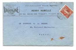 PERFORE HH  36 Sur Enveloppe Avec Correspondance (1910) Indice E - Perforés