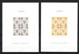 Deutschland Lübeck Nr. 6 Und 7, Neudruck 1978 In Viererblocke