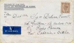 POW 1945 Lettera Posta Aerea Affrancata Da Prigioniero Di Guerra Italiano Nel 606 Camp In UK Per S. Pietro Clarenza - Seconda Guerra Mondiale