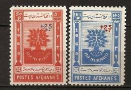 Afghanistan Afghanes 1961 N° 518 / 9 ** Année Mondiale Du Réfugié, Arbre, Surchargés - Afghanistan