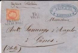 """1869 - LETTRE De MARSEILLE Avec OBLITERATION ITALIENNE """"FRANCIA VIA DI MARE"""" Pour GENES Par VAPEUR """"SEVERIN"""" - 1861-78 Victor Emmanuel II."""