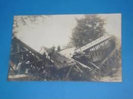 CPA BELGIQUE Carte Photo Accident De Train Pont Detruit Lieu A Identifier TOP - Belgique