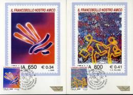 COLLEZIONISMO FILATELICO FRANCOBOLLO AMICO 1999  2 CARTOLINE MAXIMUM - Bourses & Salons De Collections