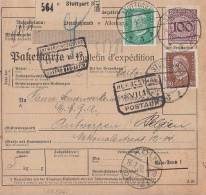 DR Paketkarte Mif Minr.343,411,420 Stuttgart 14.7.30 Gel. Nach Belgien - Briefe U. Dokumente