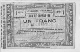 SUCRERIE ANVAING - Bon De Guerre De 1 Franc 1914 - Frasnes-lez-Anvaing