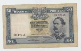 Portugal 50 Escudos 1953 VG Banknote P 160 - Portugal