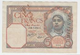 """Tunisia 5 Francs 1941 """"F"""" P 8b  8 B - Tunisie"""