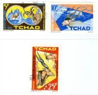 REPUBBLICA DI CIAD, CHAD, REPUBLIQUE DU TCHAD, FAUNA, ANIMALI, 1965, VALORI ANNULLATI, Scott 106,107,109 - Tchad (1960-...)